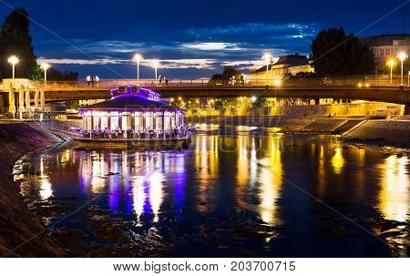 Nis, Serbia - September 8, 2017: Nisava River With Floating Coffee Bar
