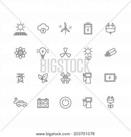Set of 20 energy industry thin line icons. Solar panel, battery, socket, windmill, lightning, gasoline, green energy, electrocar and much more. 64x64 pixel perfect. Vector illustration