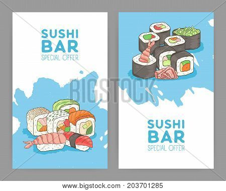 Set of modern bright colored flyer templates for Asian food restaurant with appetizing Japanese sushi and rolls on blue and white background. Special offer advertisement. Vector illustration