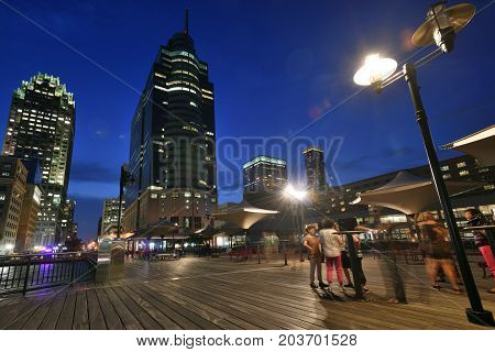 JERSEY CITY USA - AUG. 23 : Hudson River pier on August 23 2017 in Jersey Cty NJ. Jersey City is the second-most-populous city in the U.S. state of New Jersey.