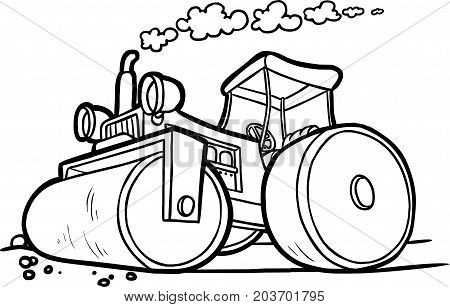 vector illustration of an asphalt compactor. black and white contour