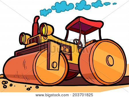 Cartoon illustration of an orange asphalt compactor