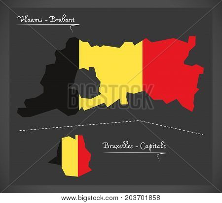 Vlaams - Brabant And Bruxelles Map Of Belgium With Belgian National Flag Illustration