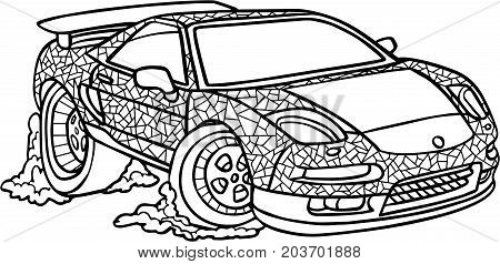 black and white vector illustration of a car on a white bachttp://www.bigstockphoto.com/account/uploads/contribute?edit=203701888#categorieskground