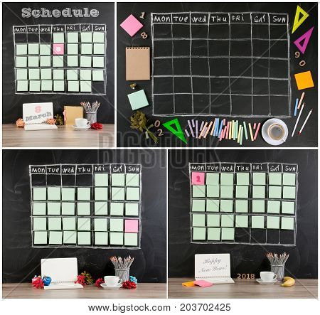 Grid timetable schedule with decoration on black chalkboard background. New Year Christmas 8 march concept