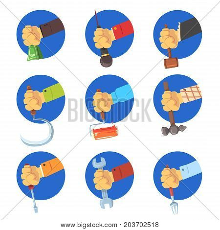 Hands holding tools set, mans hand with the symbol of the profession, jobs avatar vector Illustrations on a white background