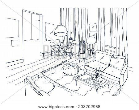 Freehand drawing of living room full of stylish comfortable furniture and home decorations. Sketch of interior of modern apartment hand drawn in black and white colors. Monochrome vector illustration