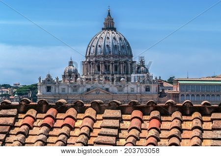 The dome of St. Peter's Cathedral in Vatican City. View from San Angelo Castle.