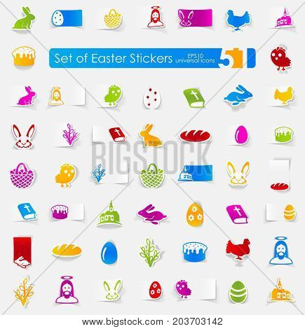 easter vector sticker icons with shadow. Paper cut