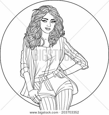 vector illustration - woman in jacket and shorts on the background of a large circle. Black and white picture - anti-stress