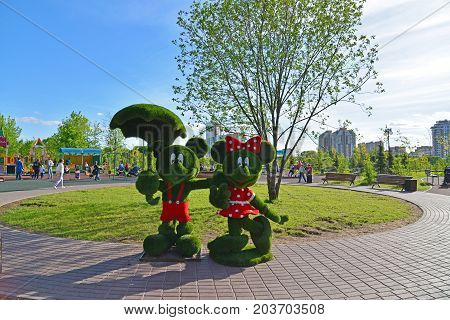 Khimki, Russia - May 30.2017. sculpture of mice in the park Eco shore
