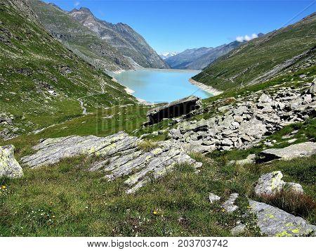 Mattmark Reservoir in the Saas Valley, Switzerland