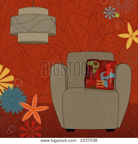 Retro-modern easy chair and lamp; colorful and stylized. Each item is grouped so you can use them independently from the background. Easy-edit layered file. poster
