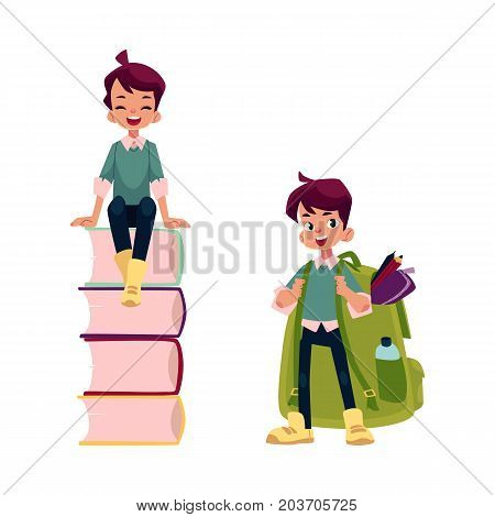 vector cartoon teenage man, schoolboy set. Boy laughing, sitting at big pile of school books, another one wear huge schoolbag full of school supplies . Flat isolated illustration on a white background