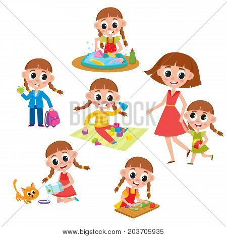 Daily routine set, little girl washing dishes, helping mother, feeding cat, going to school, cooking, playing, cartoon vector illustration isolated on white background. Daily routine set, little girl