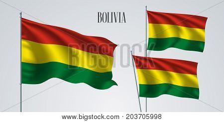 Bolivia waving flag set of vector illustration. Red green yellow stripes of Bolivian wavy realistic flag as a patriotic symbol