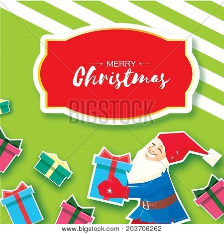 Christmas cartoon of Santa Claus holding a Gift box with bow. Paper Cut Merry Christmas Greeting card. Origami Winter season. Happy New Year. Space for text. Green background. Vector art illustration