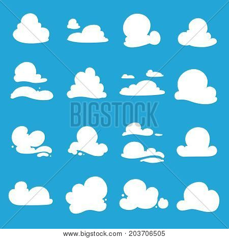 Vector clouds shapes. White illustrations for labels isolate on blue background