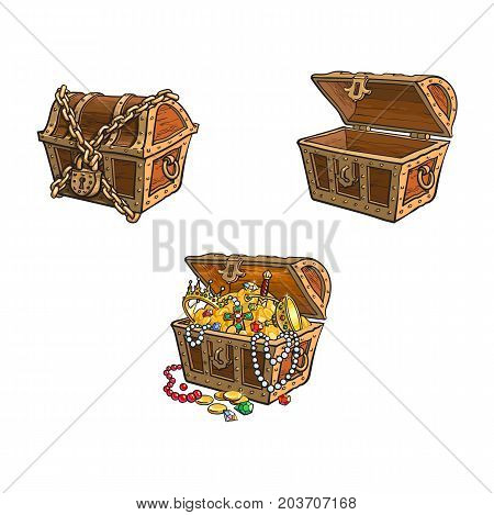 vector wooden treasure chest set. Isolated illustration on a white background. Opened, full of golden coins, closed and chained Flat cartoon symbol of adventure, pirates, risk profit and wealth.