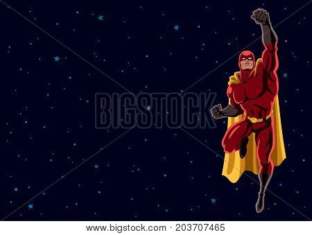 Cartoon illustration of flying superhero over space background and copy space.