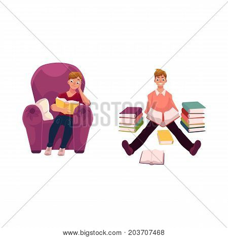 Young man reading a book in comfortable armchair and on the floor, cartoon vector illustration isolated on white background. Cartoon man, guy reading in armchair and on the floor among piles of books