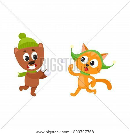 Cute little cat and bear characters playing snowballs, having fun, winter activity, cartoon vector illustration isolated on white background. Little cat and bear animal characters playing snowballs