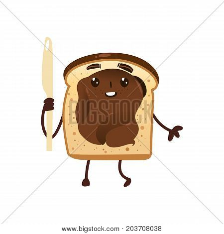 Funny bread toast with chocolate spread holding knife, cartoon vector illustration isolated on white background. Funny toast character with smiling human face and chocolate spread, breakfast character