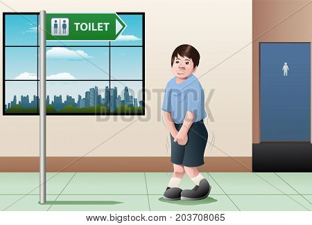 illustration of a kid want to take a pee waiting infront of bathroom sign