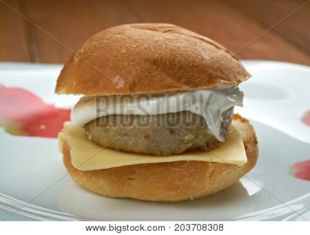 homemade Filet-O-Fish sandwich c, close up meal