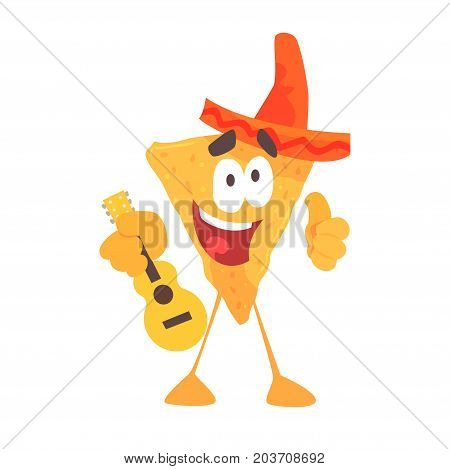Funny cartoon Mexican nachos chip character wearing sombrero hat, traditional humanized food in traditional clothes playing guitar vector Illustration on a white background