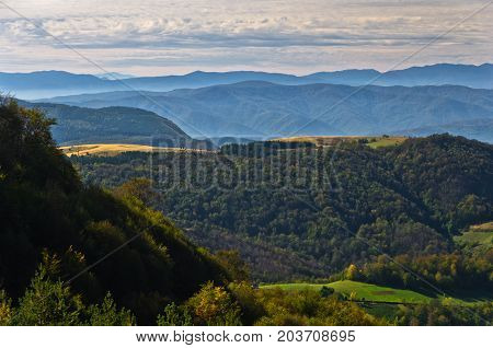 Viewpoint on a landscape of mount Bobija, hills, meadows and colorful forests, west Serbia