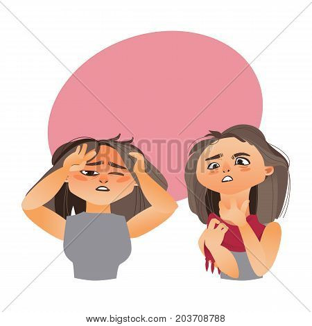 Woman having flu symptoms - headache and sore throat, cartoon vector illustration isolated on white background with speech bubble