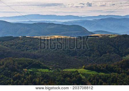 Landscape of mount Bobija, peaks, hills, meadows and colorful forests, west Serbia