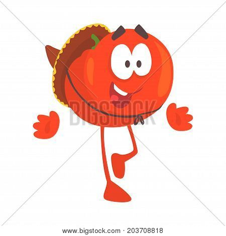 Funny cartoon red tomato character wearing sombrero hat, mexican traditional humanized food in traditional clothes vector Illustration on a white background