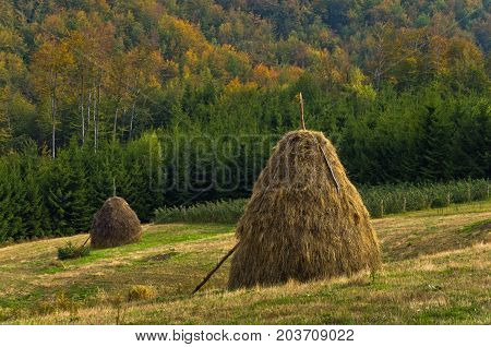 Viewpoint on a landscape of mount Bobija, hills, haystacks, meadows and colorful trees, west Serbia