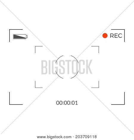 Black and white slr digital camera viewfinder. Camera back and focus frame view. Modern focusing screen. Vector illustration