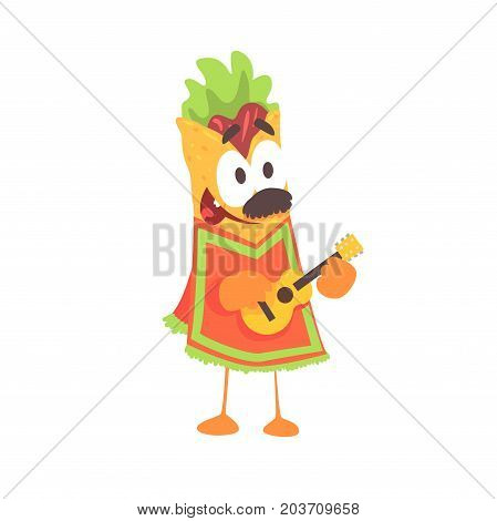 Funny cartoon fajita wrap character, mexican traditional humanized food in traditional clothes playing guitar vector Illustration on a white background