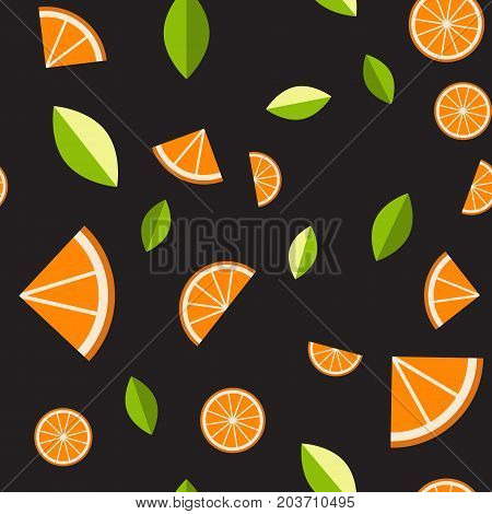 Orange, lemon on black background. Seamless pattern. Vector illustration for web