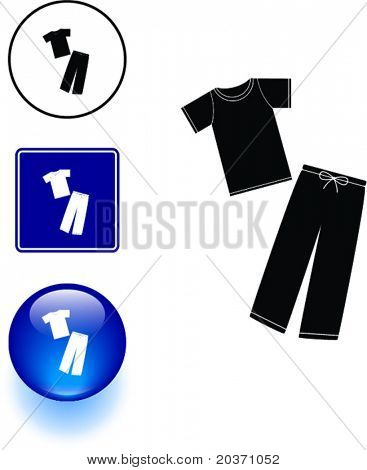 pajamas sleeping wear symbol sign and button