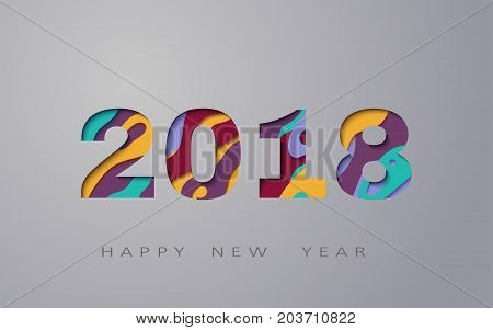 2018 happy new year, abstract design 3d, vector illustration, Layered realistic, for banners, posters flyers