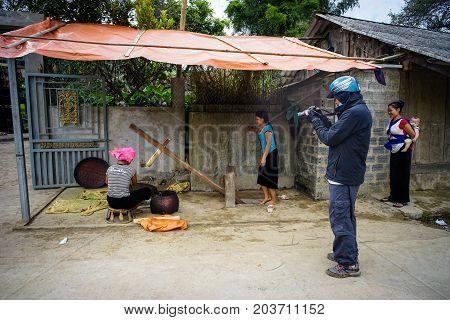 Hmong Women Working At Village In Vietnam