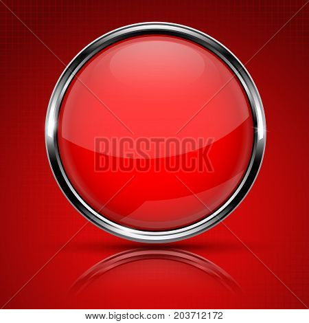 Red round glass button with chrome frame. Vector 3d illustration on red background with reflection