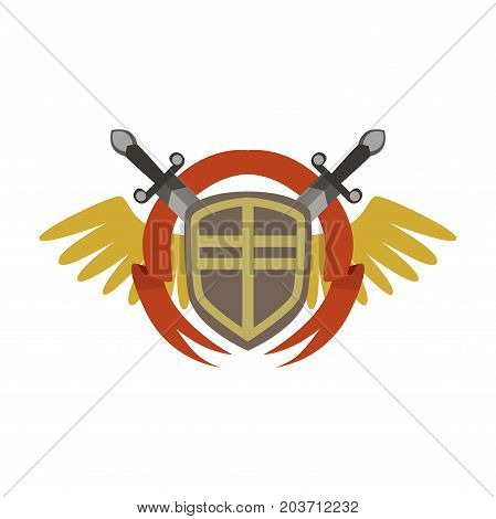 Medieval coat of arms with crossed swords and wings, colorful vector Illustration on a white background