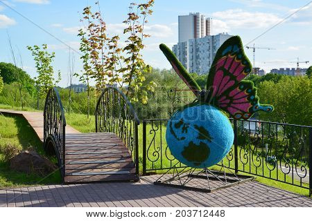 Khimki, Russia - May 30.2017. sculpture of butterfly in the park Eco shore