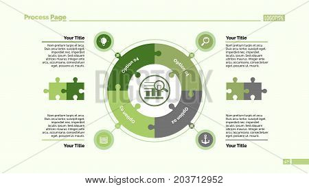 Four jigsaw puzzle elements process chart slide template. Business data. Circle, diagram, design. Creative concept for infographic, presentation. For topics like quality management, strategy, planning.