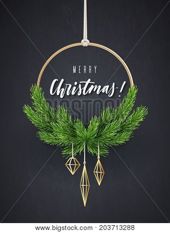 Round New Year's wreath with fir branches. Modern Christmas interior decoration, vector illustration.