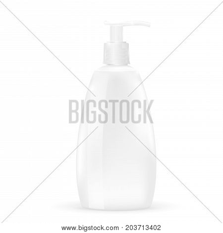 White soap dispenser. Blank pump bottle. Vector 3d illustration isolated on white background