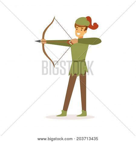 Archer aiming with bow, European medieval character in traditional costume colorful vector Illustration on a white background