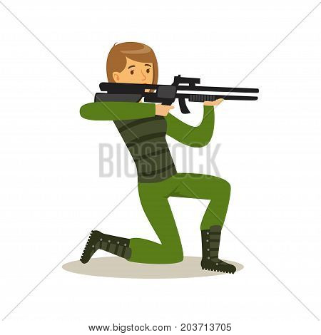 Female soldier character in camouflage combat uniform standing on one knee aiming with automatic assault rifle vector Illustration on a white background