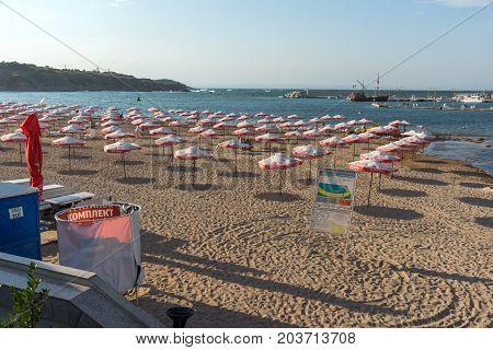 CHERNOMORETS, BULGARIA - AUGUST 16, 2017:  Seascape of port and beach of Chernomorets, Burgas region, Bulgaria